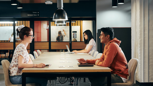 Image of students working together on Burwood Library Campus