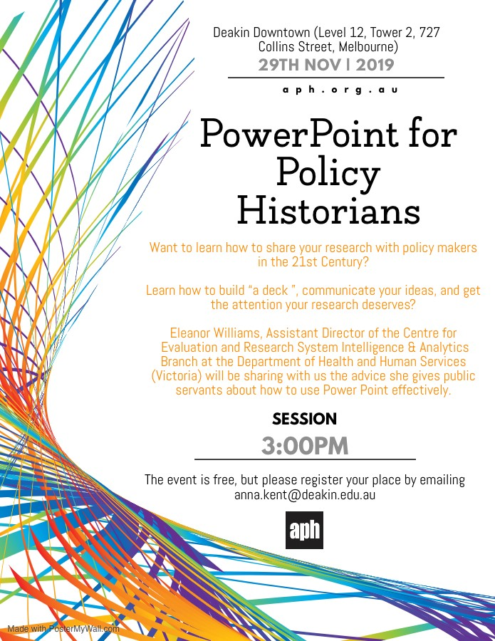 Invitation to the event Powerpoint for Policy Historians