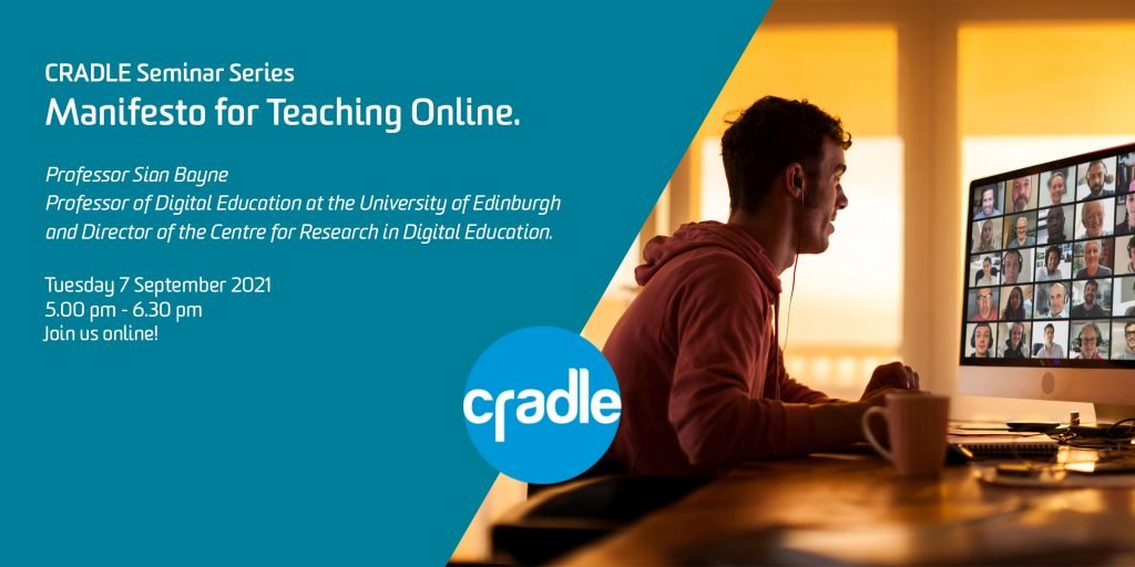 Event details for Manifesto of Teaching online seminar series. 7 September 2021 from 5pm to 6.30 pm Australian Eastern Standard time. Register to attend. Hyperlinked to registration page.