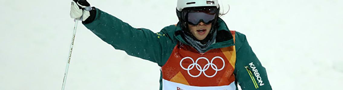 Jakara Anthony of Australia competes in the Freestyle Skiing Ladies' Moguls