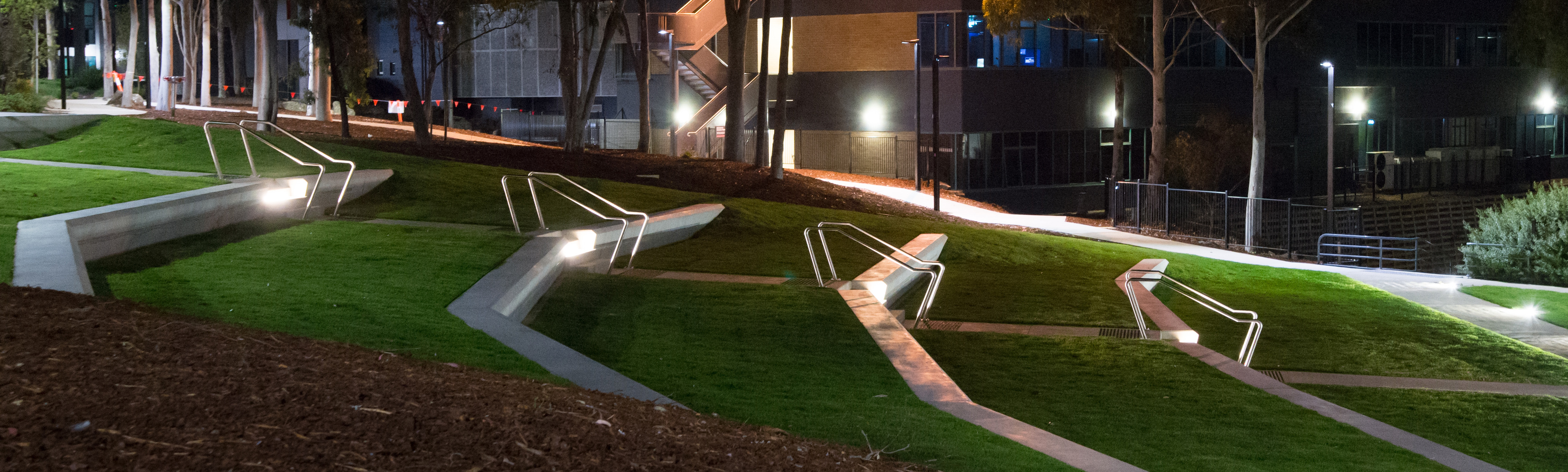 Landscape nighttime view of the Waurn Ponds Amphitheatre with lighting
