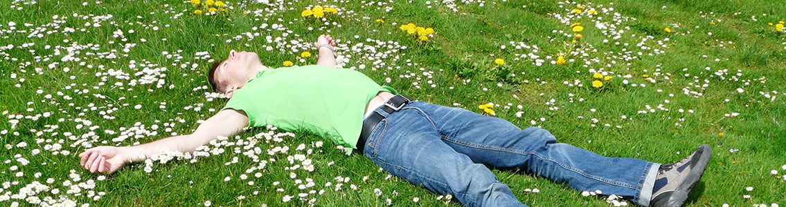 Man lying in field of flowers