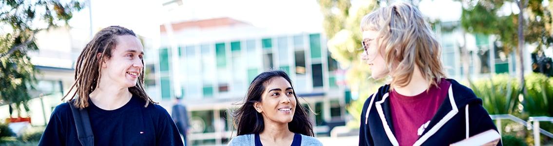 Three students walking at Burwood Campus