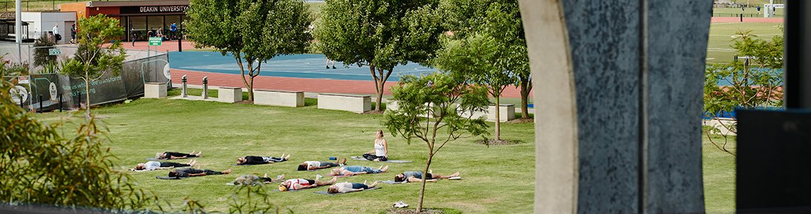 Outside yoga class at Waurn Ponds Campus