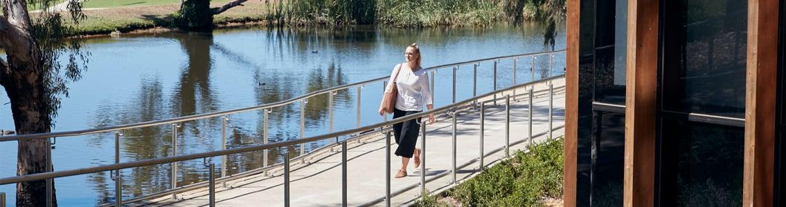 Student walking at Waurn Ponds Campus
