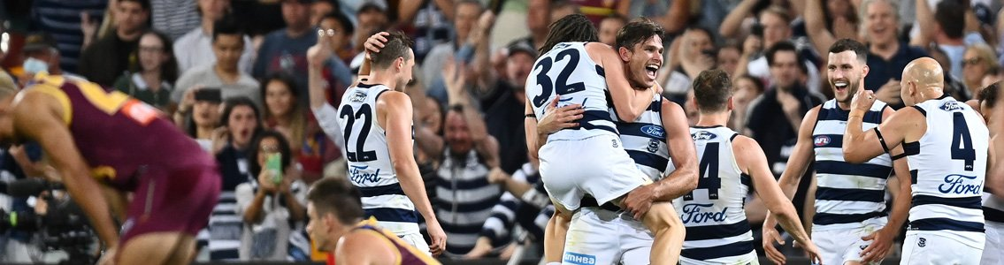 Geelong Cats celebrate after defeating the Brisbane Lions in the AFL semi-final match on Saturday 17 October 2020