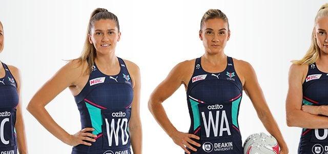 Melbourne Vixen players Kate Moloney, Kate Eddy, Liz Watson and Jo Weston