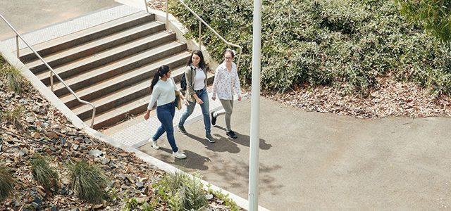 Students walking around Burwood Campus