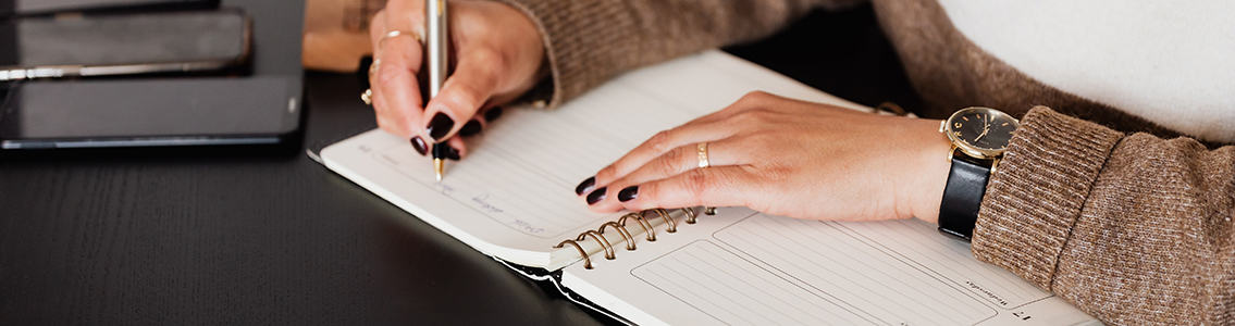 Hand writing in diary