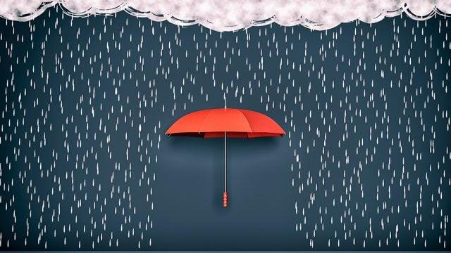 Illustration of umbrella in rain