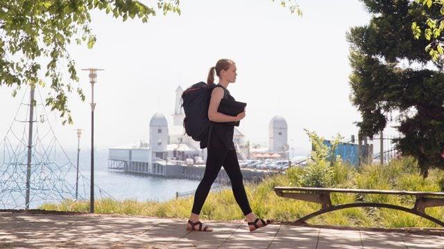 Stident walking at Geelong Waterfront