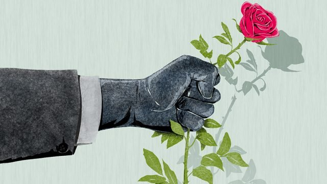 Illustration of hand crushing rose