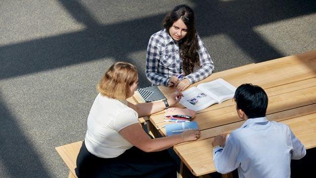 Three students at Burwood Campus