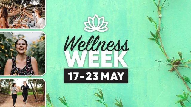 DUSA Wellness Week branding with composite imagery of people enjoying the outdoors