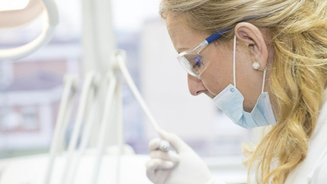 Close-up shot of female researcher in the lab