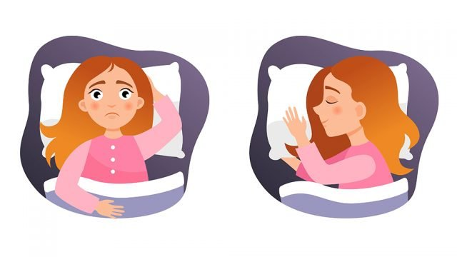 Illustration of female with insomnia and then asleep