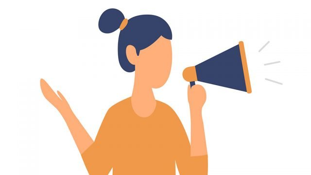 Graphical illustration of woman holding a megaphone