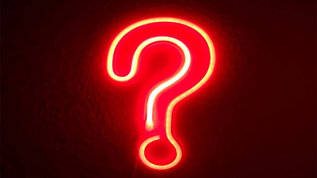 Neon sign question mark