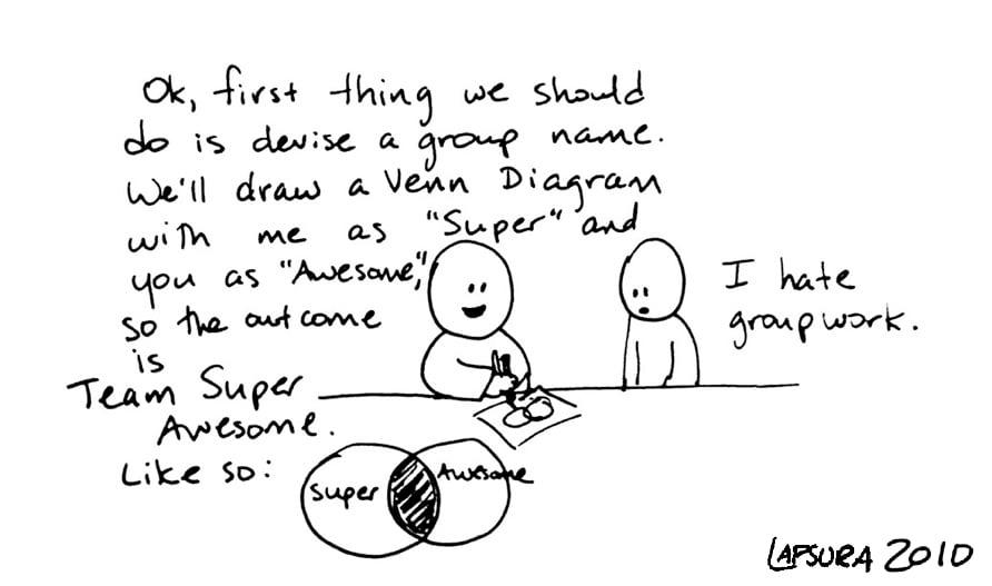 Group work cartoon