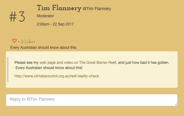 Tim Flannery Twitter feed