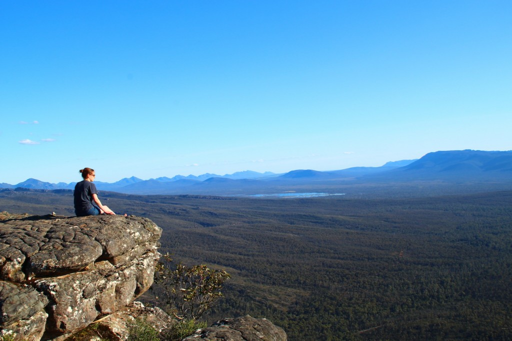 Sitting on 'the Balconies' in the Grampians