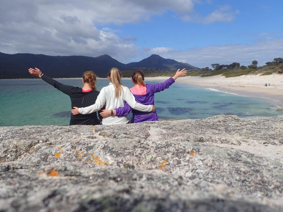 My lovely friends from my home university and I at Wineglass Bay in Tasmania