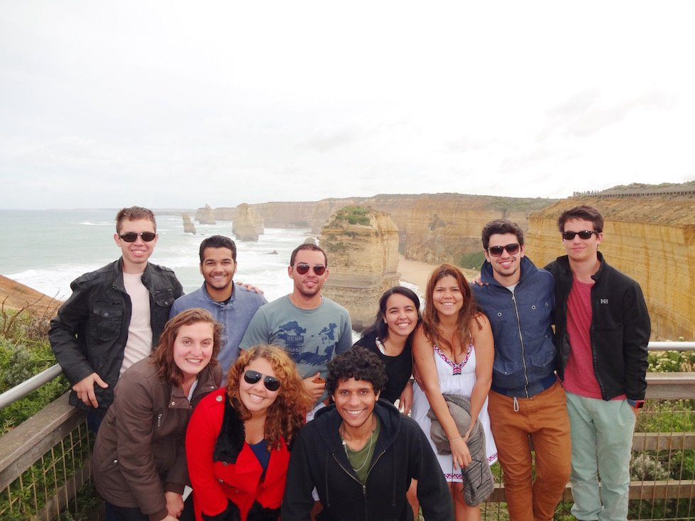 With friends at the 12 Apostles - a popular Australian attraction