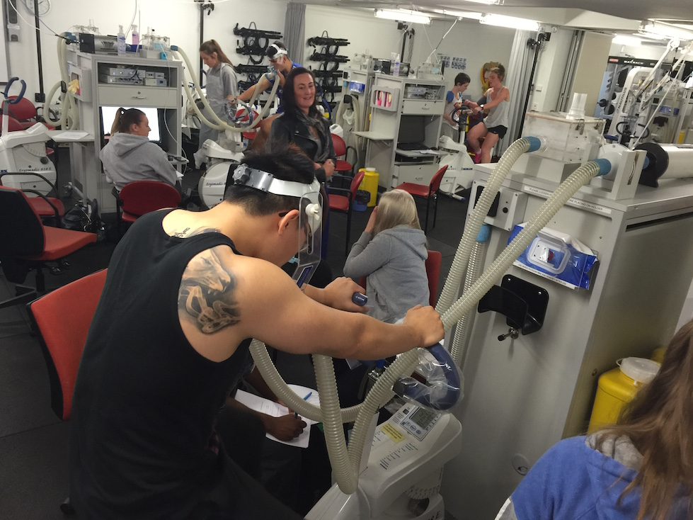 Conducting VO2 max tests in a practical in Deakins Sports Science laboratory