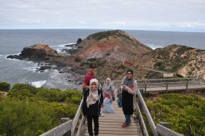 Experiencing the chill breeze at Cape Schanck