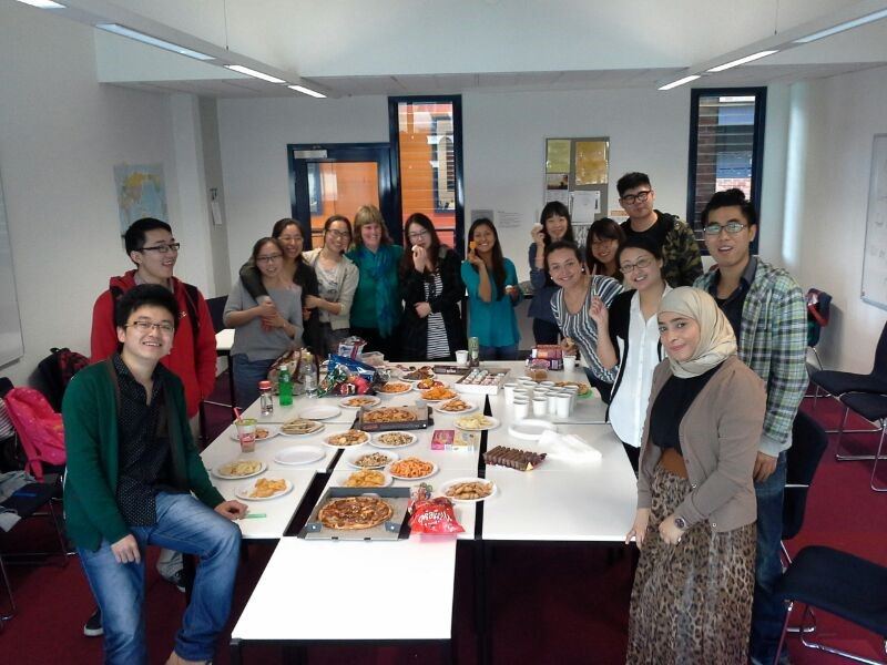 My DUELI English classmates and teacher sharing food from different countries
