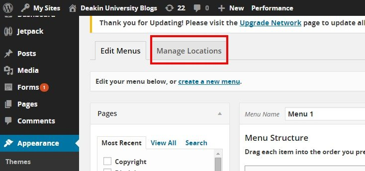 Menus ‹ Deakin University Blogs — WordPress2