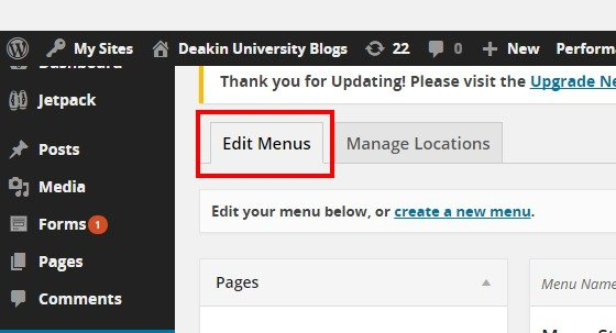 Menus ‹ Deakin University Blogs — WordPress4
